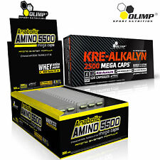 AMINO 5500 + KREALKALYN  60-180 Caps Whey Protein Pills Buffered Creatine BCAA
