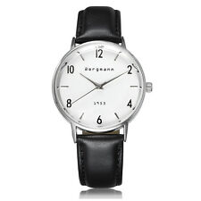 Famous Brand Bergmann Men Women Dress Watch White Couple Gift Genuine Leather