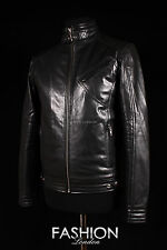 Men's BOURNE LEGACY Black Cowhide Real Leather Fitted Biker Film Movie Jacket