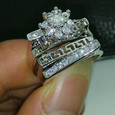 Sz 5-11 Unique Jewelry 10KT Gold Filled White Topaz Engagement Wedding Ring Set