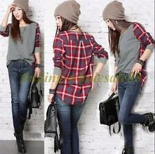 1Pc  Women Ladies Plaid Checked Long Sleeve Casual Loose T shirt Tops Blouse