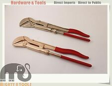 Non-Sparking Sparkproof Swedish Type Pipe Wrench 45deg Be-Cu Copper/Al-Br Brass
