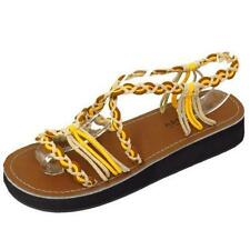 LADIES YELLOW LOW WEDGE GLADIATOR STRAPPY SUMMER SANDAL FLIP-FLOP SHOE SIZES 3-8