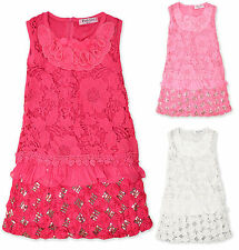 Girls Party Dress Kids Dresses Floral Lace Sequin Pink Cream New Age 2 -12 Years