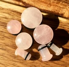 PAIR Single Flare Rose Quartz Stone Plugs Gauges Earlets Body Jewelry