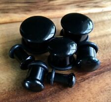 PAIR Single Flare Black Agate Stone Plugs Gauges Earlets Body Jewelry