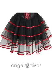 NEW Burlesque Red Tiered Skirt Size 8 -16 Ladies Petticoat Tutu Dancewear AU