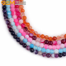 "Tiny 4mm round agate jewelry making gemstone spacer beads 15"" 11 colors select"