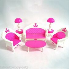 BARBIE SINDY DOLL SIZED LIVING ROOM PINK FURNITURE SOFAS, TABLE, LAMPS UK SELLER