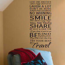 LARGE QUOTE IN THIS HOUSE RULES SMILE SHARE BE KIND WALL STICKER TRANSFER DECAL