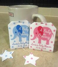 Custom Personalized Baby Elephant Tea Bags Baby Shower Favors Gift Pink Blue