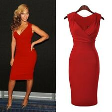 Evening Party Dress Beyonce Celebrity Style Size 8 14 16 18 Red Green Woman UK