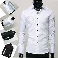 US STOCK Sexy Mens Formal Long Sleeve Casual Party Campus Boy Slim Dress Shirt
