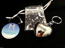 INSCRIBED GUARDIAN ANGEL CHIMING HEART KEYRING CHARM GIFT POUCH REIKI HEALING