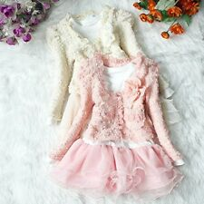 Girls Outfit Jacket Top seller Dress Kids Party Pageant Pearl Flower Clothes