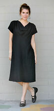 MOSAIC USA 720 Midweight Linen COWL NECK DRESS Long w/ Pockets  S M L XL  BLACK