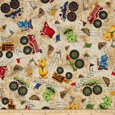 Monsters Remote Control Monster Truck Racing Mania 100% Cotton Fabric