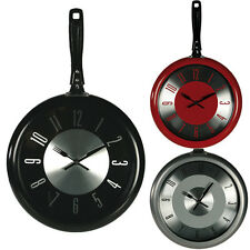 FRYING PAN WALL CLOCK KITCHEN HOME OFFICE RETRO COOKING QUARTZ HANGING DESIGN