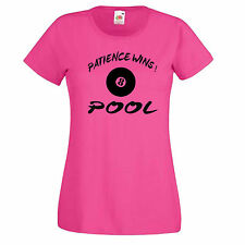 Pool, Patience Wins Womens T-Shirts 8 Ball Players Gift right on cue