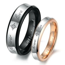 Stainless steel Couple Rings Forever Love Carved His And Her Wedding Bands Set