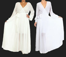 WHITE or OFF WHITE FULL SWEEP Chiffon Wrap MAXI DRESS Bridal SHEER Long Skirt