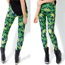 S-XL Green Weed LUCKY Maple Leaf Rock Punk Print  Bodycon Leggings Tights Pants