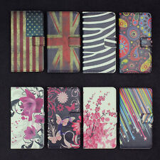 Leather Flip Flower Magnetic Credit Card Hold Wallet Pouch Stand Hard Case Cover