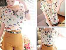 Womens Summer Colorful Casual Birds Chiffon Batwing Loose Blouse T-Shirt Tops
