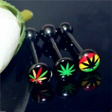 Anodized Surgical Steel Black Pot Cannabis Leaf Logo Tongue Bar Barbell 14g 16mm