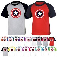 Superhero Captain America Mens Womens Raglan Baseball Tshirts Jersey Casual Top