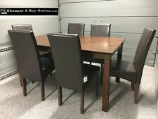 WOODEN DINING TABLE AND 6 BROWN FAUX LEATHER CHAIRS DARK OAK WALNUT FINISH NEW
