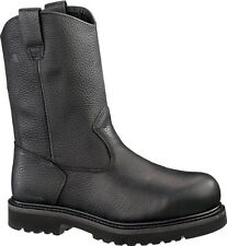 "Wolverine Men's Wellington Work Welt Leather Steel Toe 10"" Safety Boots - Black"