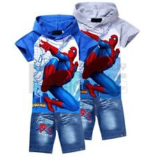 2Pcs Kids Boys Girls Spiderman Hoodie Tops T-Shirt + Jeans Shorts Suits Sets 2-8