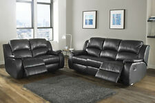 Milano Bonded Leather Recliner Sofa Suite Set 1/2/3 Seater/Chair - Black/Brown