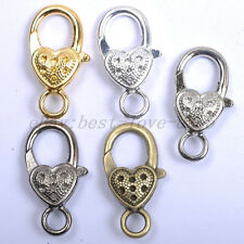 Gold Silver Plated Bronze Copper & Dots & Charms Heart Lobster Clasps 25X14MM