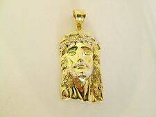 10K Gold Two Tones Jesus Face Charm Jesus Pendants (L)