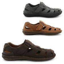 NEW MENS COMFORTABLE CLOSED TOE SUMMER LEATHER VELCRO SANDALS UK SIZE 7-12