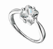 Sterling Silver 8mm Clear Square Solitaire Stone Ring *BAS/R925C
