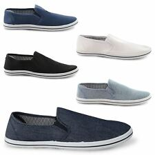NEW MENS CANVAS CASUAL TRAINERS PLIMSOLES LOAFER SLIP ON LACE UP SHOES SIZE 7-12