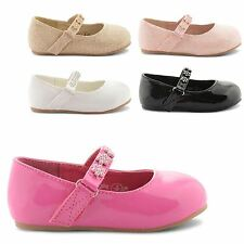 NEW GIRLS JUNIORS KIDS DIAMANTE FLAT BALLET BALLERINA PATENT SHOES SIZE UK 4-10