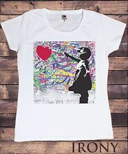 Banksy Girl With Balloon Street Graffiti Womens White T-Shirt Graphic T-shirt