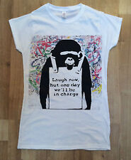 Banksy Monkey Laugh Now But One Day Stencil Street Art - Fashion/Graphic T-shirt