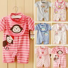 Baby Boys Girls Cartoon Rompers Jumpsuit Outfit Clothes with Bibs 3-18 Months
