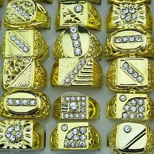 Charms 10-30pcs Rhinestones Gold P Fashion Mens Rings Wholesale Jewelry Lots New