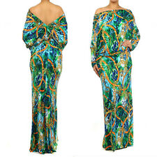 GREEN & BLUE * MULTI WAY Reversible PLUNGING Convertible MAXI DRESS Off Shoulder