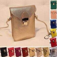 Cell Phone Case Weave Shoulder Small Cross-body Bags Girls Ladies Zero Wallet PU