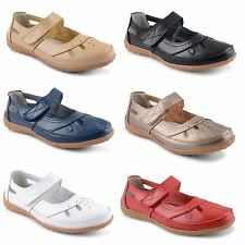 New Ladies Faux Leather Gum Sole Casual Velcro Flat Sandals Shoes Sizes UK 3-8