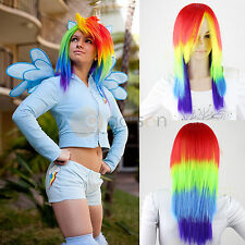 My Little Pony Rainbow Dash Multi Color Long Hair Heat Resistant Wig Cosplay