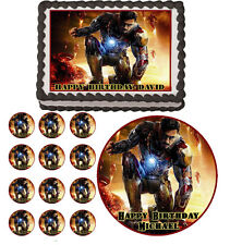 IRON MAN  Edible Cake Topper Cupcake Image Decoration Birthday Party