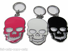 LARGE SCARY SKULL ENAMEL METAL KEYRING GIFT CHARM 3 COLOURS:PINK, BLACK or WHITE